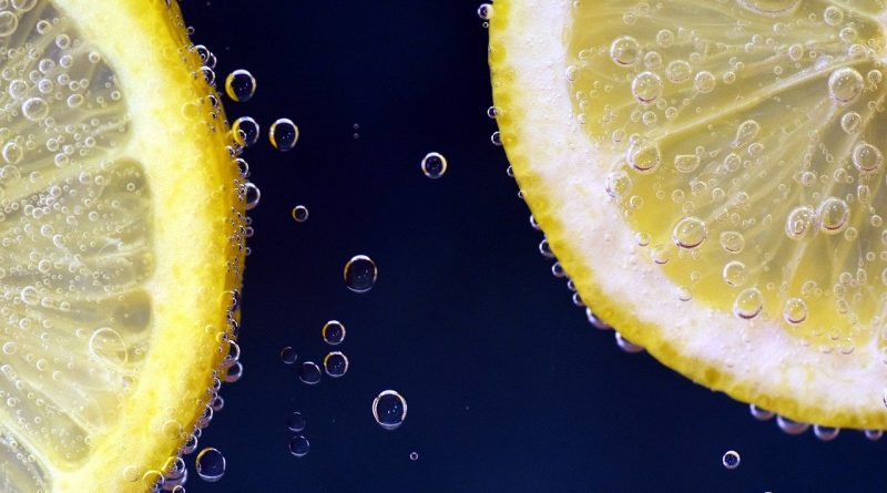 Slices of lemon in water